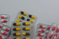 Colorful  capsule Panel drug on white  background Stock Photography