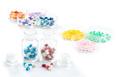 Colorful capsule in Pill Container,  Healthcare And Medicine Royalty Free Stock Photography