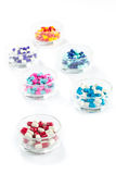 Colorful capsule in Pill Container,  Healthcare And Medicine Royalty Free Stock Photos