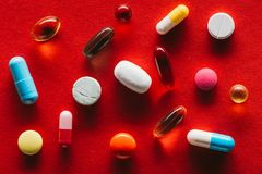 Colorful capsules and tablets Royalty Free Stock Image