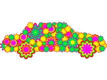 Colorful car. Car made of color flowers - vector illustration Stock Photography