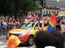 Colorful Car at the Capital Pride Parade in Washington DC. Photo of men and women at the capital pride parade in washington dc on 6/9/18. This parade takes place stock photo