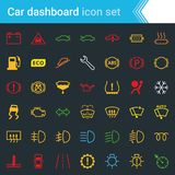 Colorful car dashboard interface and indicators icon set - service maintenance vector symbols. Complete colorful vector set of car dashboard, indicators and Stock Photo