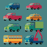 Colorful car icons set vector illustration Stock Images