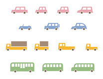 Colorful car icons. Colorful vehicle icons, car, bus, truck, school bus and sports car Royalty Free Stock Image