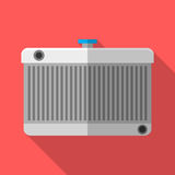 Colorful car radiator icon in modern flat style with long shadow. Car parts Stock Photography