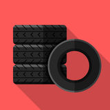 Colorful car tires icon in modern flat style with long shadow. Car parts Stock Photos
