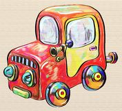 Colorful car toy, digital painting illustration Stock Photography