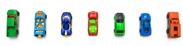 Colorful car toys. Flat lay. Toys concept Royalty Free Stock Photography