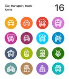 Colorful Car, transport, vehicle, truck, train vector flat line icons for web and mobile applications. 16 line colorful vector icons Royalty Free Stock Images