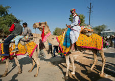 Colorful caravan of camels and safari riders in traditional costumes Royalty Free Stock Photos