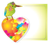 Colorful card with bird and heart. For your design Stock Photography