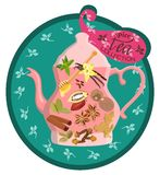 Colorful card with brew and spices for tea. Vector illustration. Vector image of a teapot and tea with spicy additions of nutmeg, anise and cardamom, mint and Stock Image
