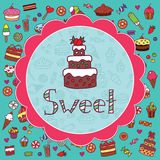 Colorful card with cake Stock Photos