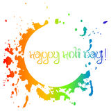 Colorful card with chaotic rainbow splashes and blots. Festival of colors Holi Stock Image