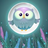 Colorful card with cute little flying owl and full moon royalty free illustration
