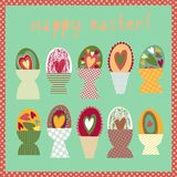 Colorful card with Easter egg cups Stock Images