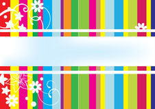 Colorful card with lines and flowers. Colorful card with colour lines and white flowers Stock Images
