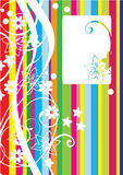 Colorful card with lines and flowers Stock Image