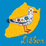 Colorful card with map of Lisbon and seagull Royalty Free Stock Photos