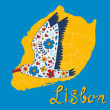 Colorful card with map of Lisbon and seagull Royalty Free Stock Photo