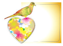 Colorful card with nice bird and heart. For your design Royalty Free Stock Images