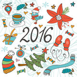 Colorful 2016 card with winter graphics Royalty Free Stock Photos
