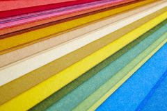 Colorful cardboards macro detail. Choose color. Textured background royalty free stock images