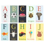Colorful cards with alphabet and image of the first letter of th. Illustration of Colorful cards with alphabet and image of the first letter of the word in flat Stock Images