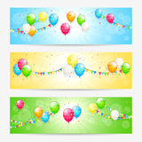 Colorful cards with balloons. Colorful cards with holiday balloons, streamers, pennants and confetti, Birthday banners, illustration Stock Photo
