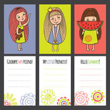 Colorful cards with funny girls. Funny characters drawn by hand. Girl with toy, a Princess and a girl with a watermelon. Colorful cards for different occasions Royalty Free Stock Photos