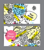 Colorful cards or invitations. Hand drawn doodle style. Positive cards or invitations. Hand drawn doodle style Stock Image