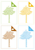 Colorful cards with seasons trees Stock Images
