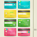 Colorful cards. Set of colorful, realistic credit card icons with fictitious signature and microchip. vector money security, business concept Stock Image