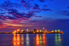 Colorful cargo container port. Night view of cargo container port at Songkhla,Thailand Stock Image