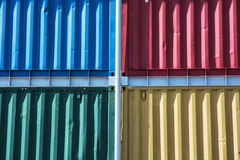 Colorful cargo containers stacked up Royalty Free Stock Images