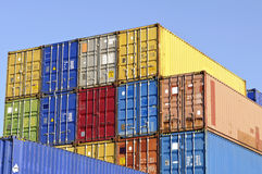 Colorful cargo containers for transport. Warehouse with colorful cargo containers for transport stock photos