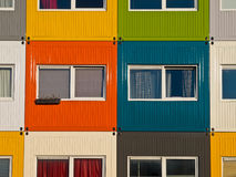 Colorful cargo containers used as home by students. To  solve housing problem Stock Photos