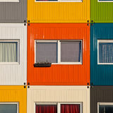 Colorful cargo containers used as home by students Stock Images