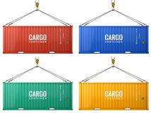 Colorful cargo freight shipping containers isolated on white background Royalty Free Stock Photography