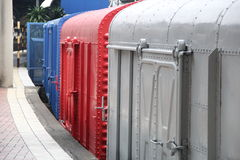 Colorful cargo train compartment stock image