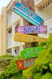 Colorful caribbean directions signs Royalty Free Stock Image