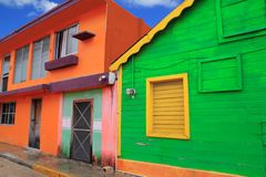 Colorful Caribbean houses tropical Isla Mujeres. Colorful Caribbean houses tropical vivid colors Isla Mujeres Mexico Stock Photo