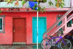 Colorful Caribbean houses tropical Isla Mujeres. Colorful Caribbean houses tropical vivid colors Isla Mujeres Mexico Stock Photos