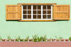 Colorful Caribbean Window and Shutters in a Green Wall II. Royalty Free Stock Image