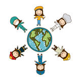 Colorful caricature female people professions around world earth map Royalty Free Stock Images