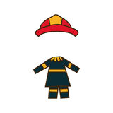 Colorful caricature firefighters costume profession. Illustration Stock Images