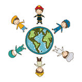 Colorful caricature male people professions around world earth map Royalty Free Stock Photos
