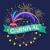 Colorful carnaval greeting card. Vector design template with car. Naval elements on blue background stock illustration