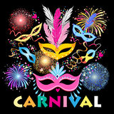 Colorful carnival background. Bright colorful a carnival background with mask vector illustration